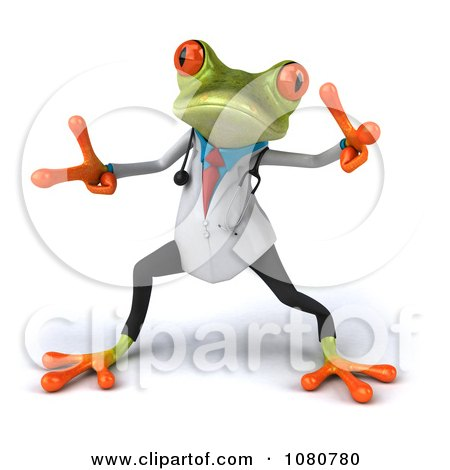 Clipart 3d Doctor Springer Frog Dancing 2 - Royalty Free Illustration by Julos