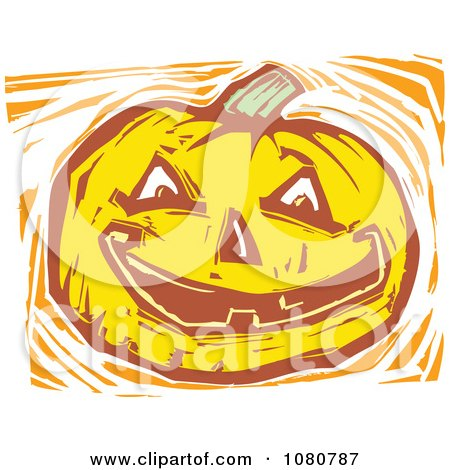 Clipart Woodcut Styled Jackolantern Halloween Pumpkin - Royalty Free Vector Illustration by xunantunich