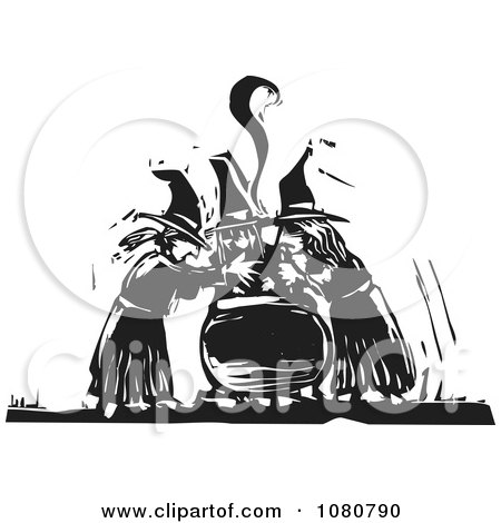 Clipart Black And White Woodcut Witches Chanting Over A Cauldron - Royalty Free Vector Illustration by xunantunich