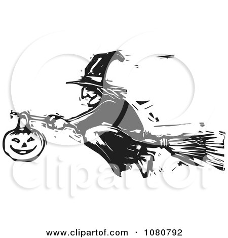 Clipart Black And White Woodcut Halloween Witch Flying On A Broomstick - Royalty Free Vector Illustration by xunantunich
