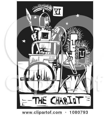 Clipart Black And White Woodcut Styled Tarot Chariot Card - Royalty Free Vector Illustration by xunantunich