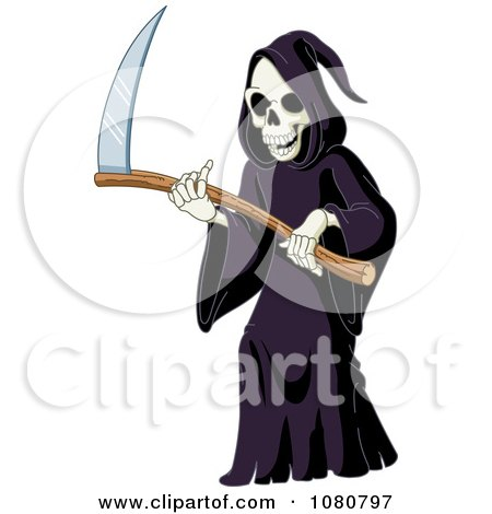 Clipart Laughing Grim Reaper Holding A Scythe - Royalty Free Vector Illustration by yayayoyo