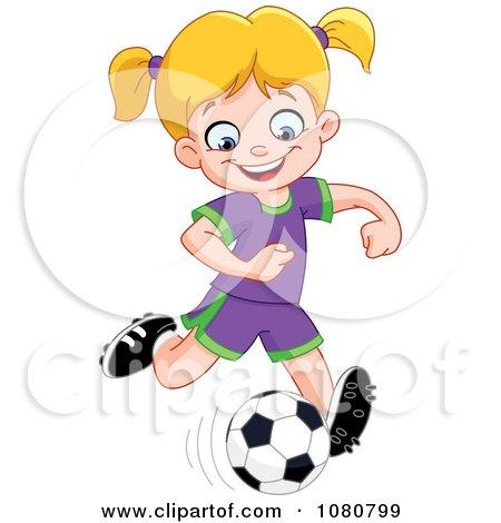 Clipart Happy Soccer Girl Kicking A Ball - Royalty Free Vector Illustration by yayayoyo