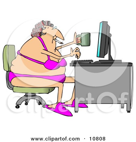 White Woman in Her Bra and Underwear, Hair in Curlers, Smoking a Cigarette, Holding a Coffee Mug and Typing on a Computer at a Desk Clipart Illustration by djart