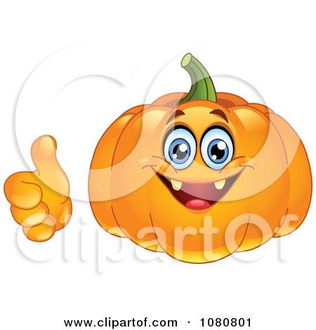Clipart Happy Jackolantern Holding A Thumb Up - Royalty Free Vector Illustration by yayayoyo