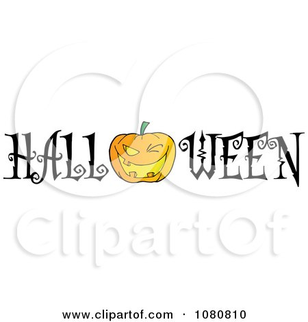 Clipart The Word Halloween With A Jackolantern As The O - Royalty Free Vector Illustration by Hit Toon