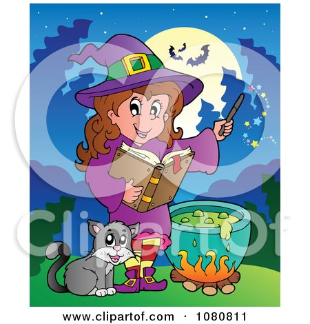 Clipart Cat By A Halloween Witch Making A Potion - Royalty Free Vector Illustration by visekart