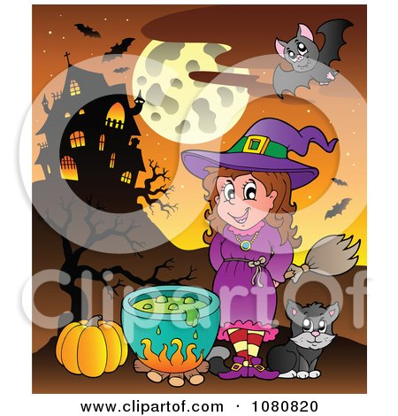 Clipart Halloween Witch And Cat By A Cauldron And Haunted House - Royalty Free Vector Illustration by visekart