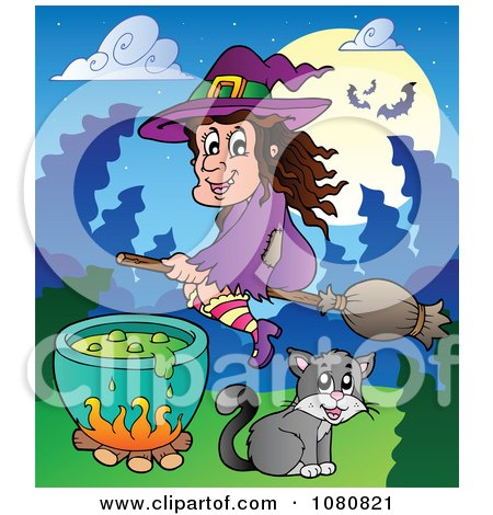 Clipart Halloween Witch Flying Over A Cat And Potion Cauldron - Royalty Free Vector Illustration by visekart