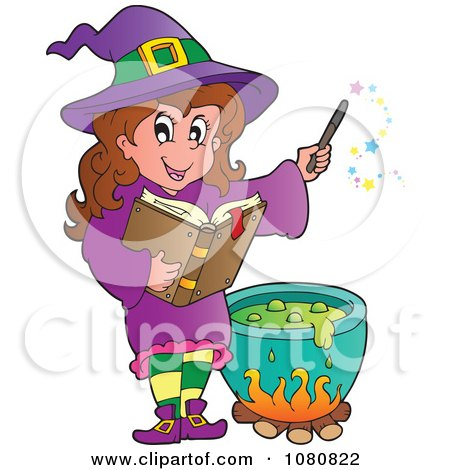 Clipart Halloween Witch In Purple Making A Potion - Royalty Free Vector Illustration by visekart