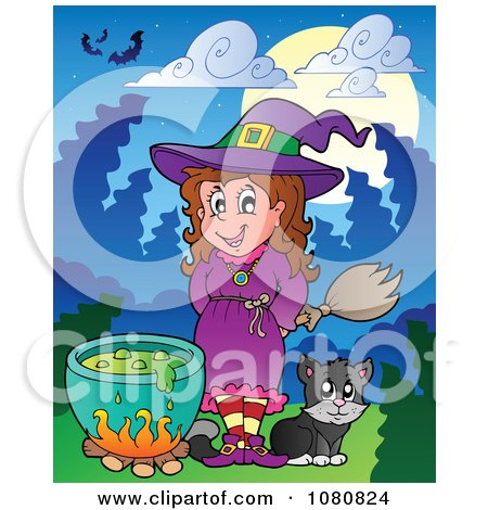 Clipart Halloween Witch And Cat By A Potion Cauldron - Royalty Free Vector Illustration by visekart