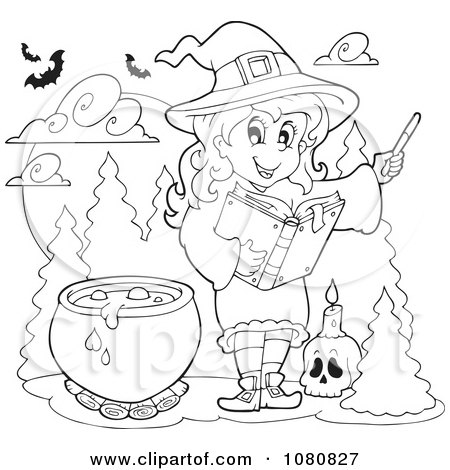 Clipart Outlined Halloween Witch Making A Potion - Royalty ...