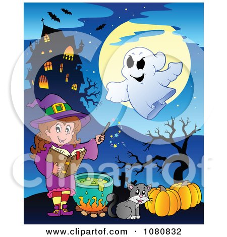 Clipart Halloween Witch In Purple Making A Potion By A Haunted House - Royalty Free Vector Illustration by visekart