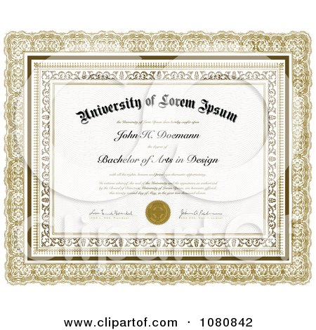 Clipart ornate gold bachelor of arts in design certificate with clipart ornate gold bachelor of arts in design certificate with sample text royalty free vector illustration by bestvector yadclub Image collections