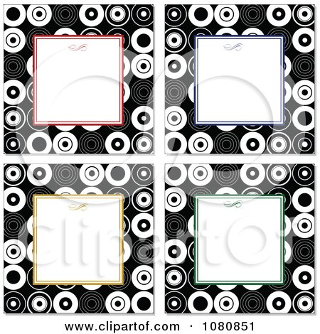 Clipart Colorful Frames Around Copyspace With Circle Borders - Royalty Free Vector Illustration by BestVector