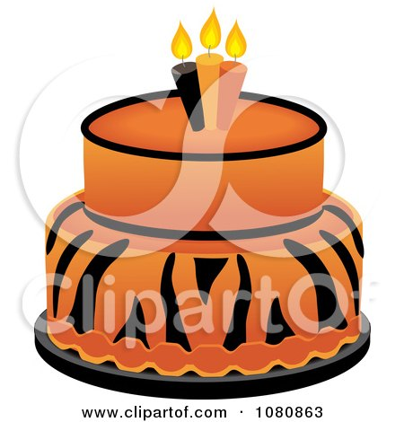 Clipart Round Two Tiered Tiger Print Fondant Cake With Birthday Candles - Royalty Free Vector Illustration by Pams Clipart