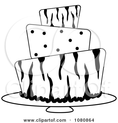 Clipart Round Black And White Three Tiered Funky Zebra Print And Polka Dot Fondant Cake - Royalty Free Vector Illustration by Pams Clipart