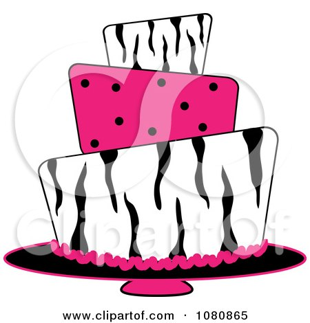 Clipart Round Three Tiered Funky Zebra Print And Pink Polka Dot Fondant Cake - Royalty Free Vector Illustration by Pams Clipart