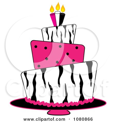 Clipart Round Three Tiered Funky Zebra Print And Pink Polka Dot Fondant Birthday Cake - Royalty Free Vector Illustration by Pams Clipart