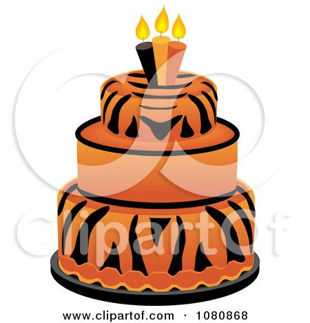 Clipart Round Three Tiered Tiger Print Fondant Cake With Birthday Candles - Royalty Free Vector Illustration by Pams Clipart