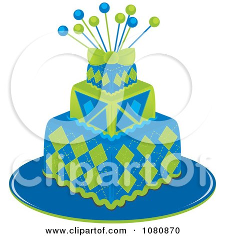 Clipart Three Tiered Green And Blue Square Fondant Cake With Pins - Royalty Free Vector Illustration by Pams Clipart