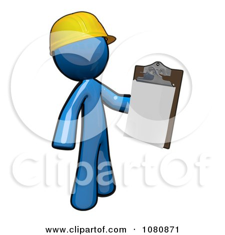 Clipart 3d Blue Man Construction Worker Holding A Clipboard - Royalty Free CGI Illustration by Leo Blanchette