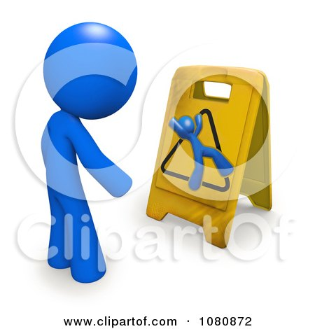 Clipart 3d Blue Man Looking At A Slippery Warning Floor Sign - Royalty Free CGI Illustration by Leo Blanchette