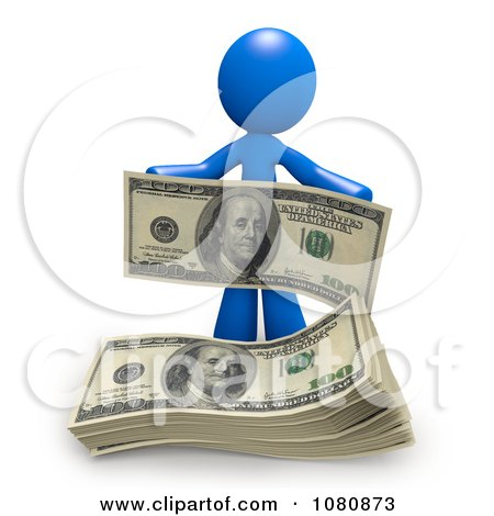Clipart 3d Blue Man With A Stack Of Cash - Royalty Free CGI Illustration by Leo Blanchette
