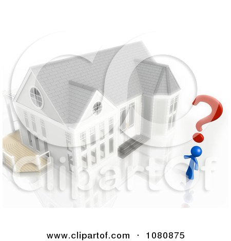 Clipart 3d Blue Man With A Question Mark And House - Royalty Free CGI Illustration by Leo Blanchette
