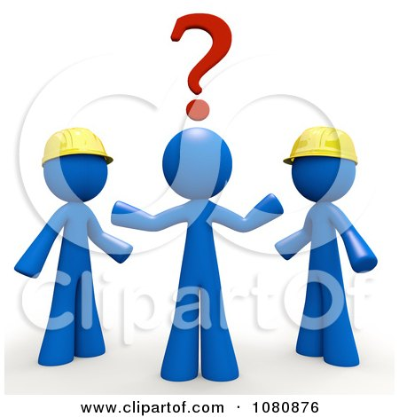 Clipart 3d Blue Man Trying To Decide Which Contractor To Use - Royalty Free CGI Illustration by Leo Blanchette
