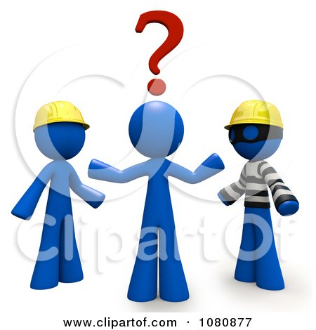 Clipart 3d Blue Man Trying To Decide Over A Thief Or Professional Contractor - Royalty Free CGI Illustration by Leo Blanchette