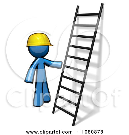 Clipart 3d Blue Man Construction Worker By A Ladder - Royalty Free CGI Illustration by Leo Blanchette