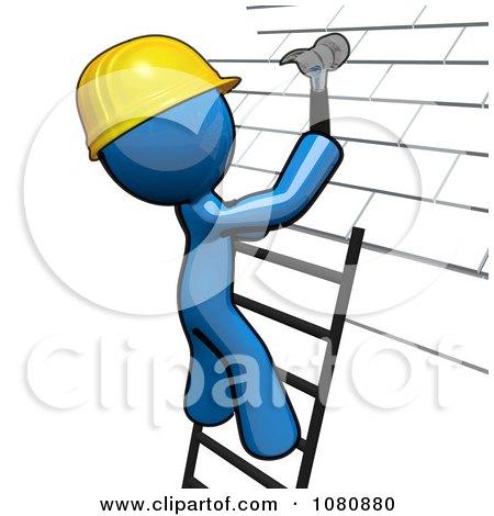 Clipart 3d Blue Man Roofer On A Ladder Hammering Tiles - Royalty Free CGI Illustration by Leo Blanchette