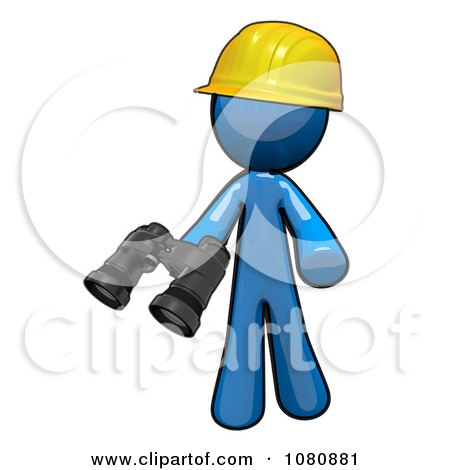 Clipart 3d Blue Man Construction Worker Holding Binoculars - Royalty Free CGI Illustration by Leo Blanchette