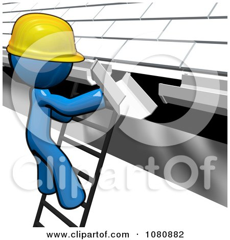 Clipart 3d Blue Man Construction Worker Replacing Gutters - Royalty Free CGI Illustration by Leo Blanchette