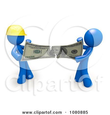 Clipart 3d Blue Men Contractor And Client Fighting Over Money And Ripping It - Royalty Free CGI Illustration by Leo Blanchette