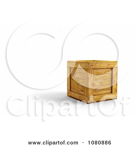 Clipart 3d Wooden Crate - Royalty Free CGI Illustration by stockillustrations
