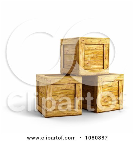 Clipart 3d Wooden Crates Stacked - Royalty Free CGI Illustration by stockillustrations