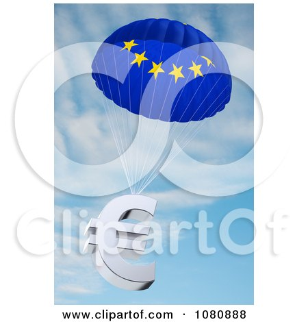 Clipart 3d European Flag Parachute With A Euro Symbol - Royalty Free CGI Illustration by stockillustrations