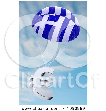 Clipart 3d Greek Flag Parachute With A Euro Symbol - Royalty Free CGI Illustration by stockillustrations