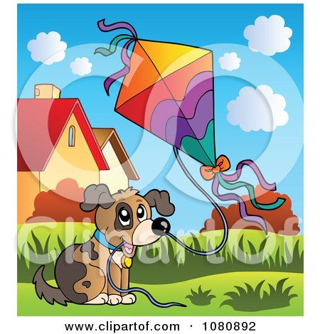 Clipart Dog Flying A Kite - Royalty Free Vector Illustration by visekart