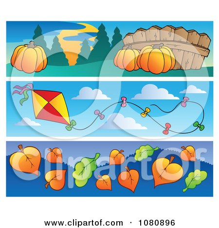 Clipart Set Of Pumpkin Kite And Autumn Leaf Website Banners - Royalty Free Vector Illustration by visekart