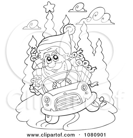 santa in a car images coloring pages | Clipart Outlined Santa Driving A Car - Royalty Free Vector ...
