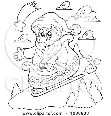 Clipart Outlined Santa Sledding - Royalty Free Vector Illustration by visekart
