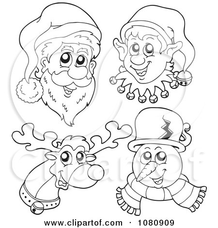 Clipart Outlined Santa Elf Reindeer And Snowman Faces - Royalty Free Vector Illustration by visekart