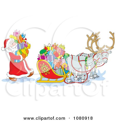 Clipart Santa Loading Gift Boxes Into His Sleigh - Royalty Free Vector Illustration by Alex Bannykh