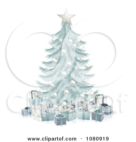 Clipart 3d Silver Blue Christmas Tree With Gift Boxes - Royalty Free Vector Illustration by AtStockIllustration
