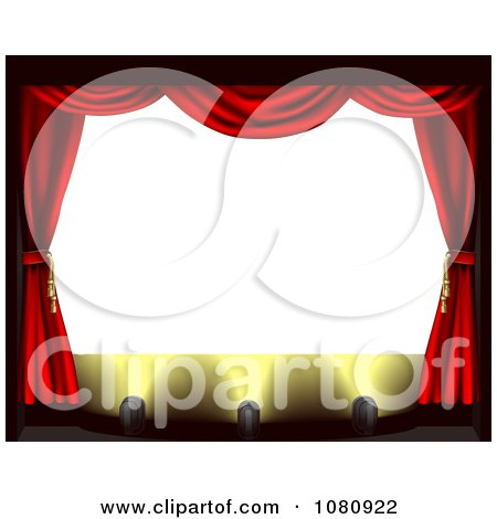Clipart Blank Theater Screen With Red Drapes And Spot Lights On The Stage - Royalty Free Vector Illustration by AtStockIllustration