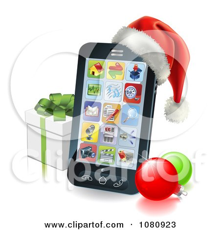 Clipart 3d Cell Phone With A Santa Hat Christmas Baubles And Gift Box - Royalty Free Vector Illustration by AtStockIllustration