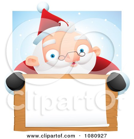Clipart Chubby Santa Smiling Over A Blank Wooden Sign And White Paper Against Snow - Royalty Free Vector Illustration by Qiun
